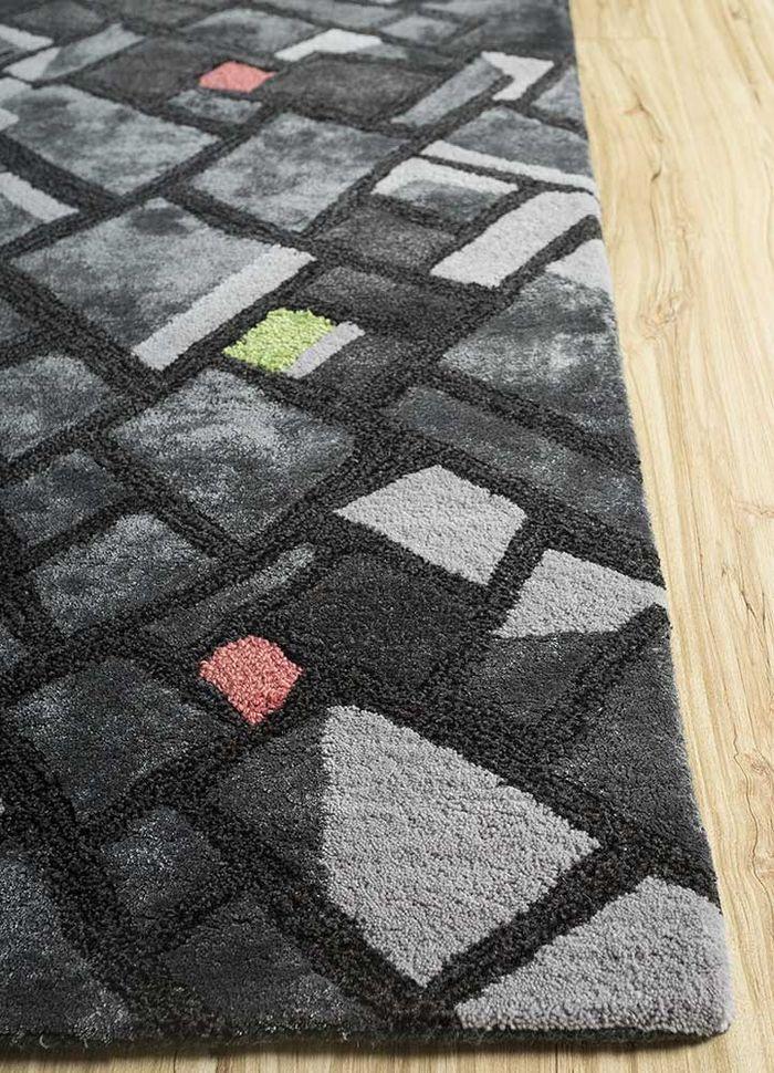 oscar grey and black wool and viscose hand tufted Rug - Corner