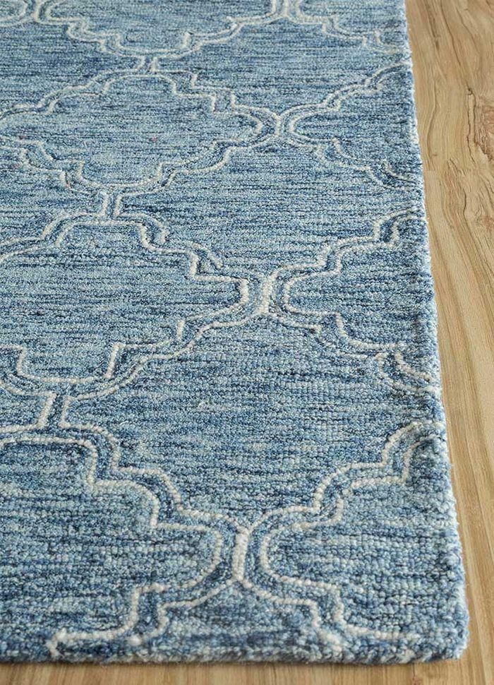 contour blue wool hand tufted Rug - Corner