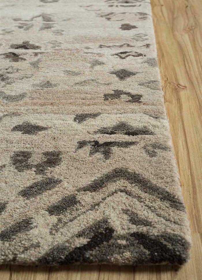 kilan beige and brown wool hand tufted Rug - Corner