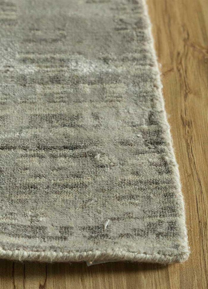 memoir beige and brown wool and viscose hand loom Rug - Corner