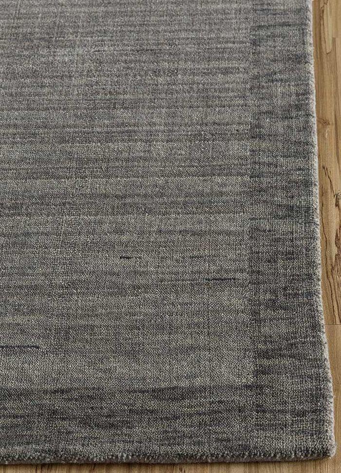 tesoro grey and black wool hand loom Rug - Corner