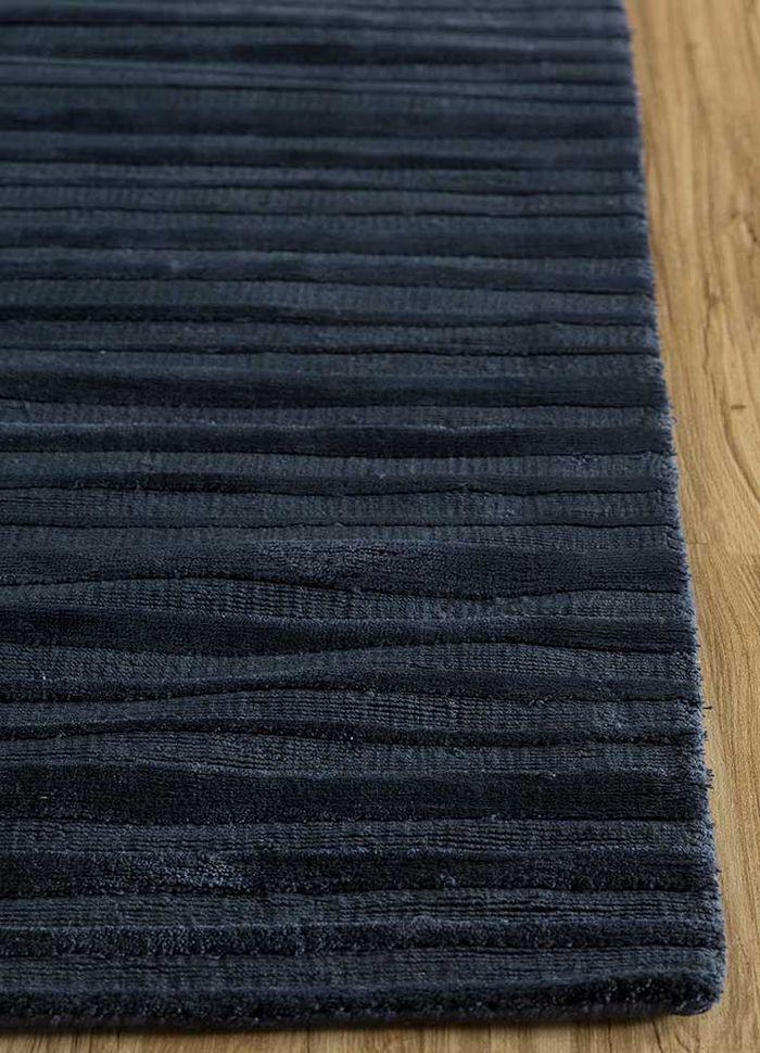basis blue viscose hand loom Rug - Corner