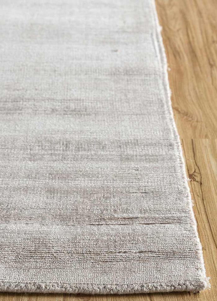 aprezo grey and black bamboo silk hand loom Rug - Corner
