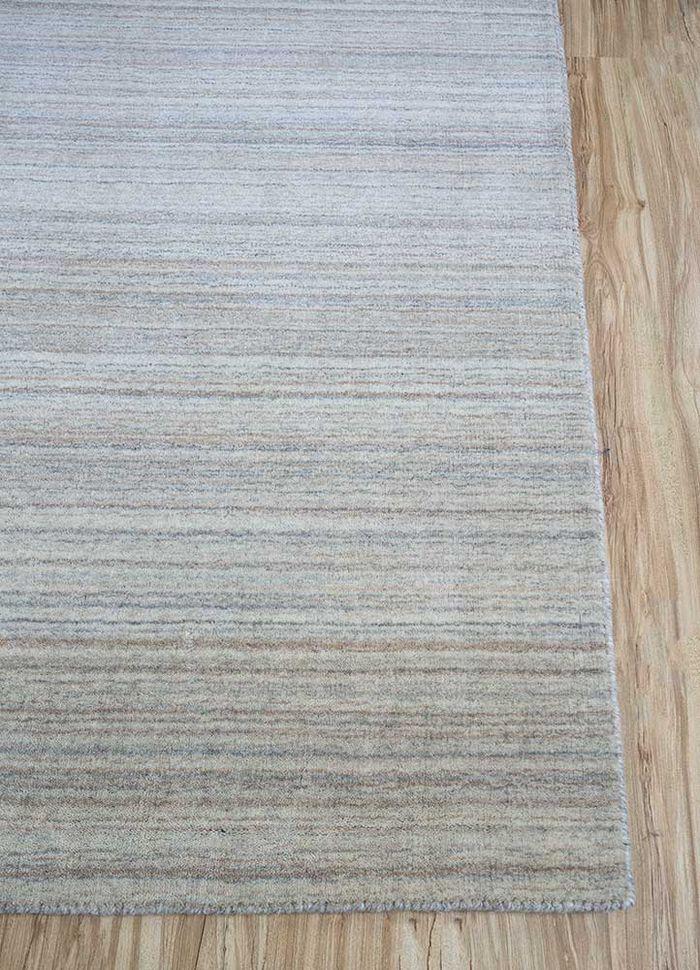 tesoro beige and brown wool hand loom Rug - Corner