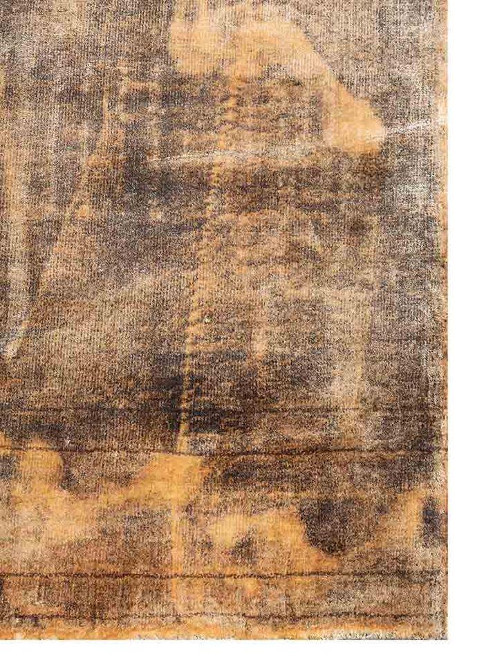 acar grey and black viscose hand loom Rug - Corner