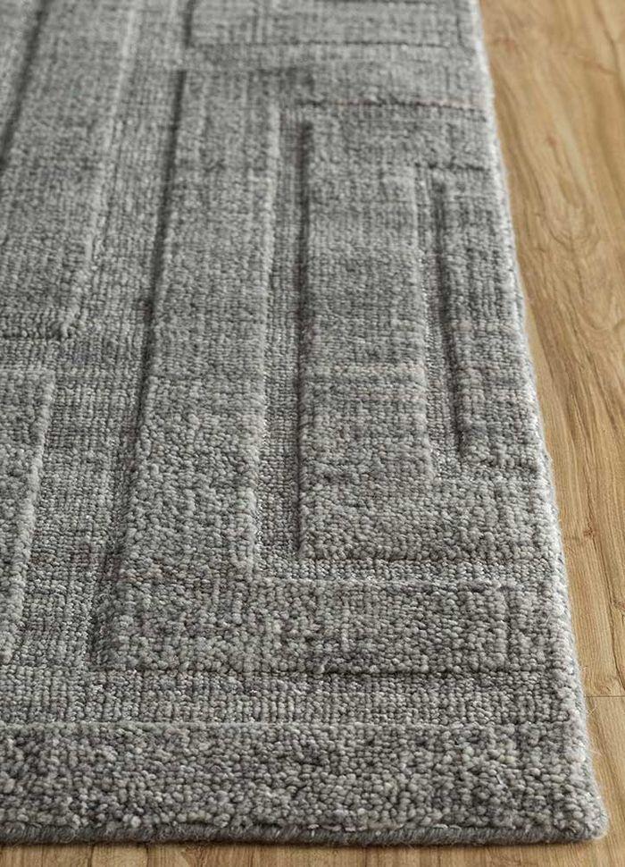 graze grey and black wool and viscose hand loom Rug - Corner