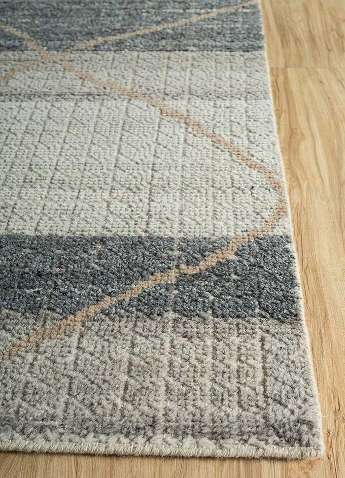 revolution grey and black wool hand knotted Rug - Corner