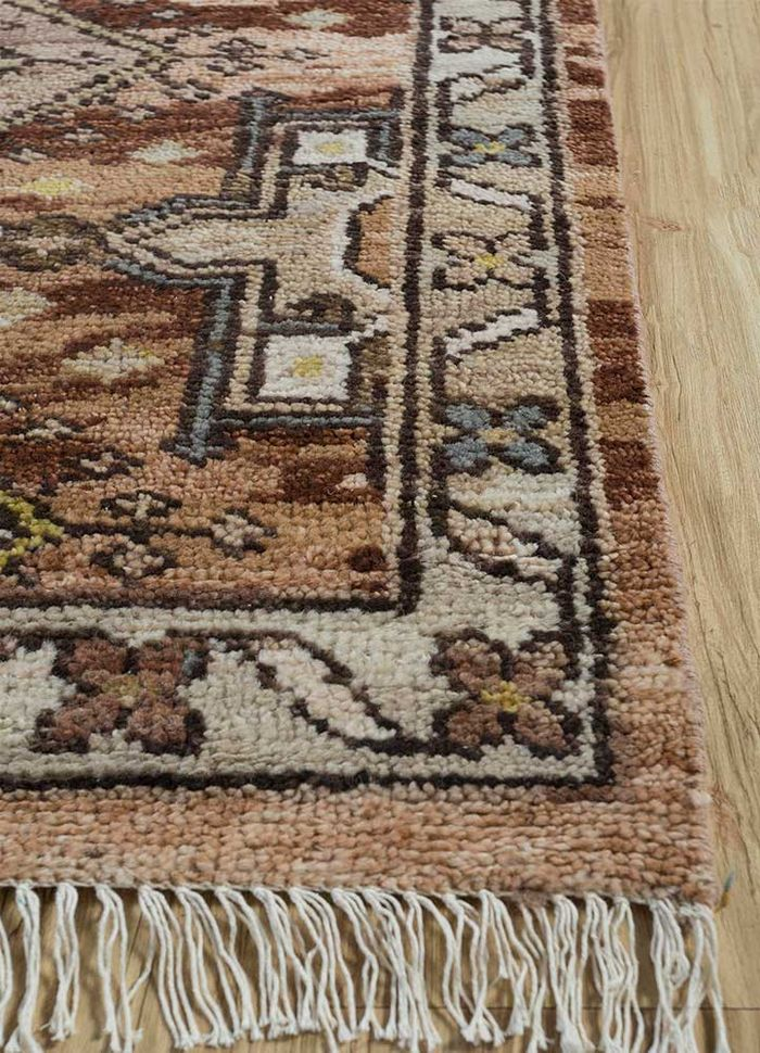 eden beige and brown wool hand knotted Rug - Corner