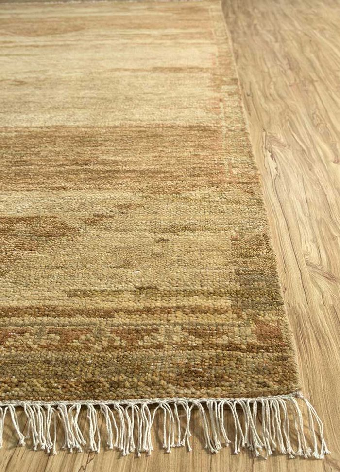 eden red and orange wool hand knotted Rug - Corner