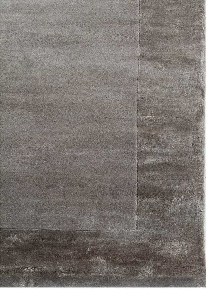 legion grey and black wool and viscose hand knotted Rug - Corner