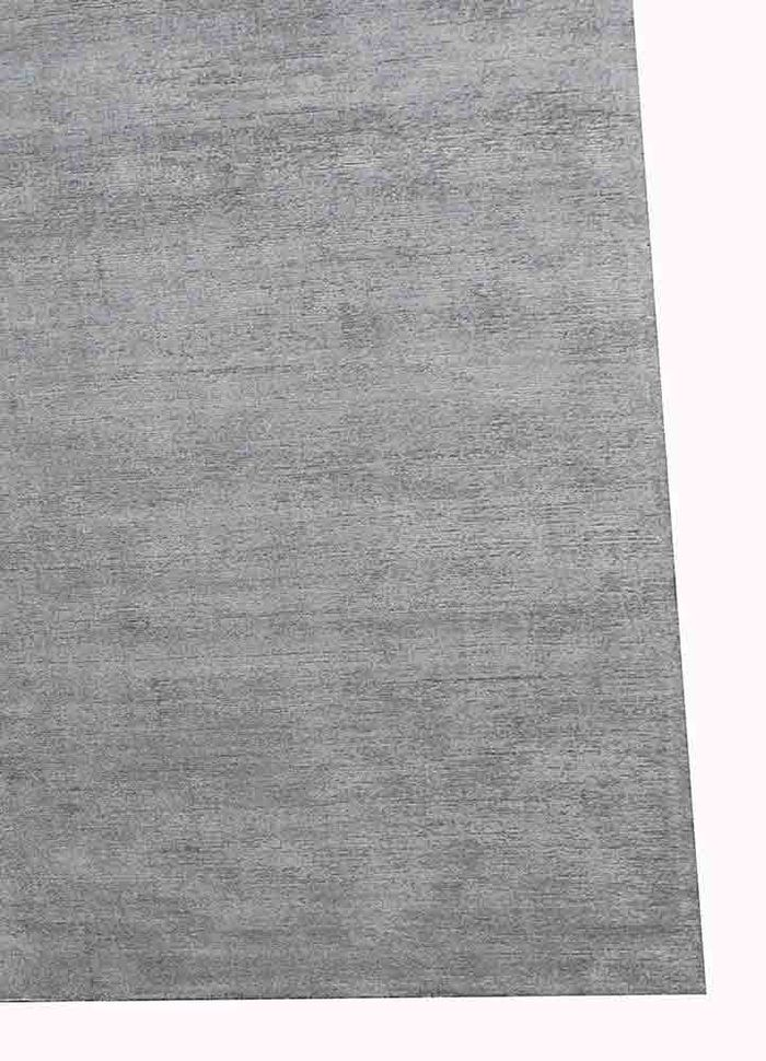 konstrukt grey and black wool and viscose hand loom Rug - Corner