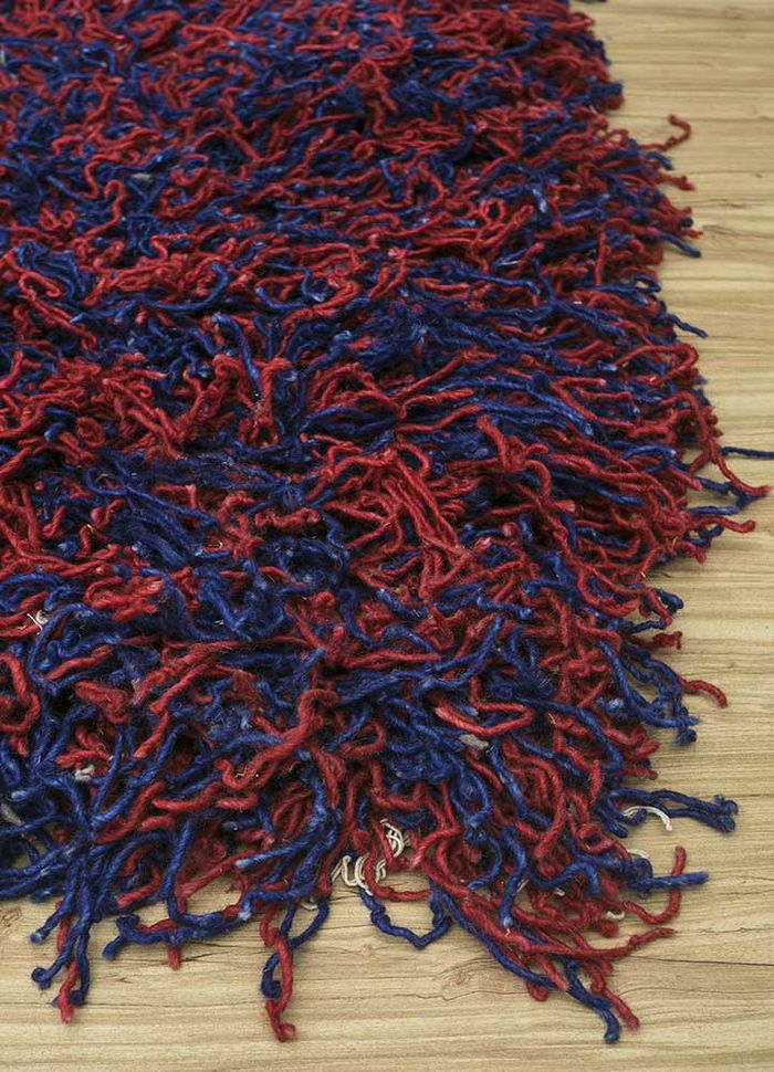 nadia blue wool hand knotted Rug - Corner
