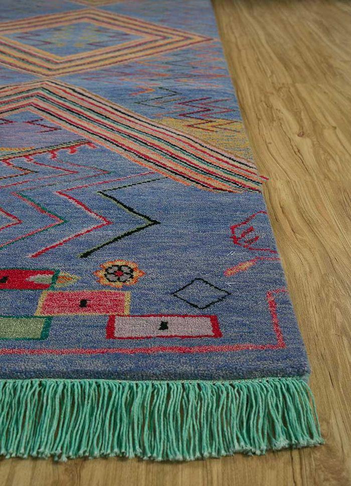 artisan originals pink and purple wool hand knotted Rug - Corner