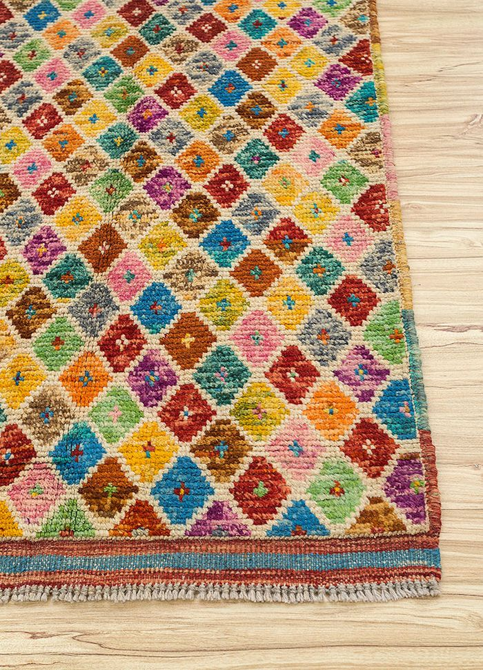 afghan mori gold wool hand knotted Rug - Corner