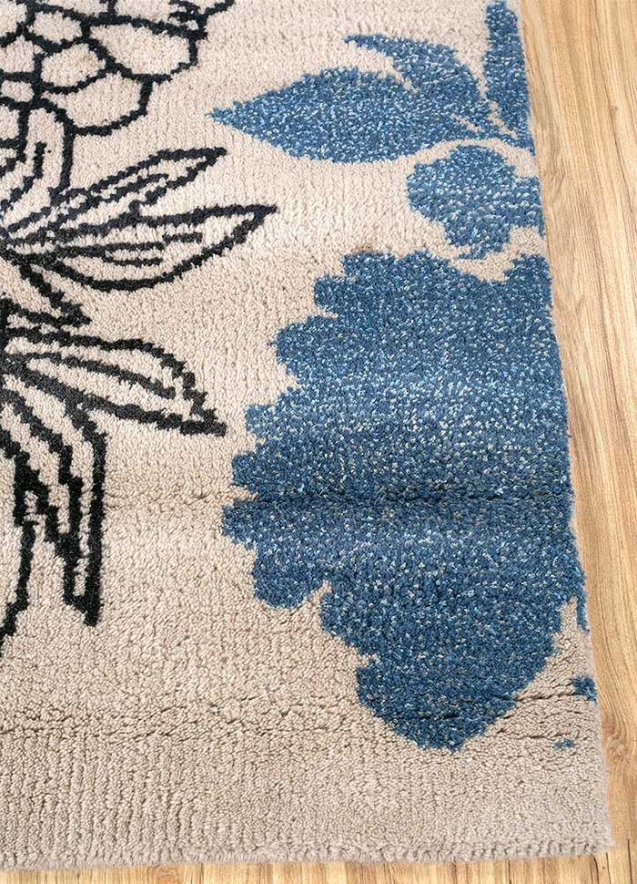 esme beige and brown wool and bamboo silk hand knotted Rug - Corner