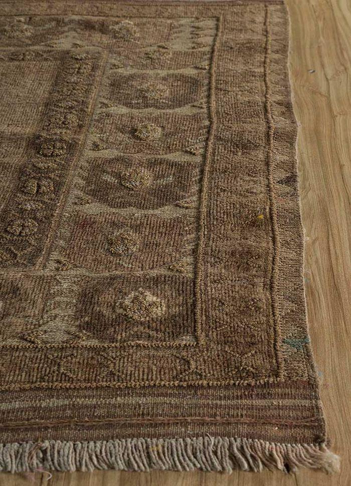 heritage beige and brown wool flat weaves Rug - Corner