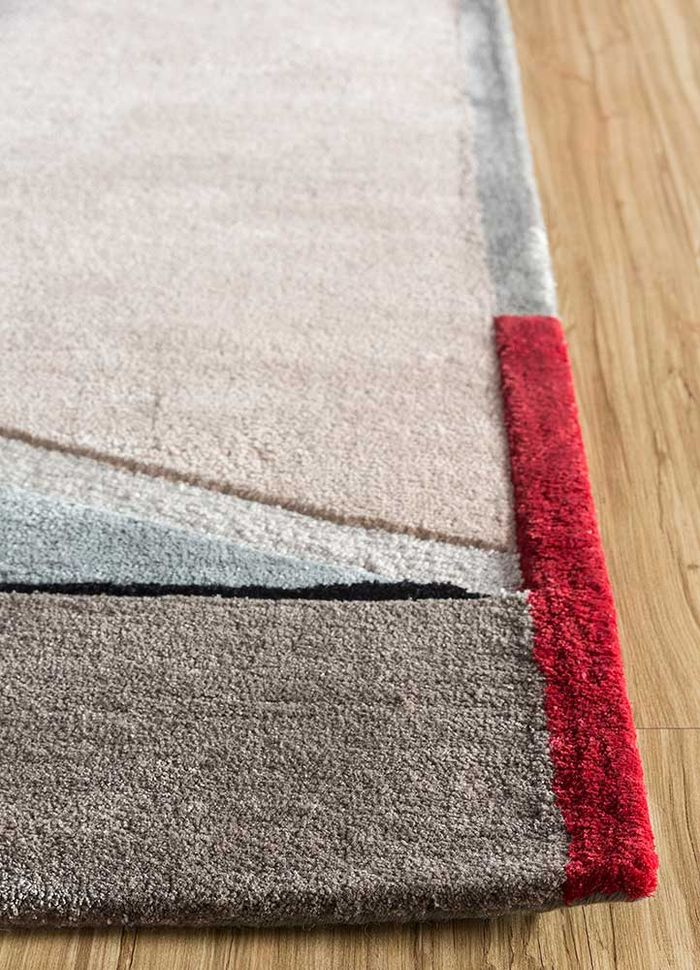 come around red and orange wool and viscose hand tufted Rug - Corner