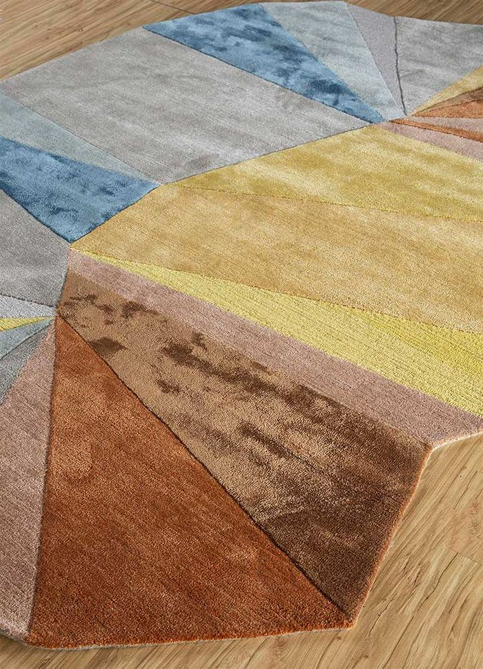 come around beige and brown wool and viscose hand tufted Rug - FloorShot