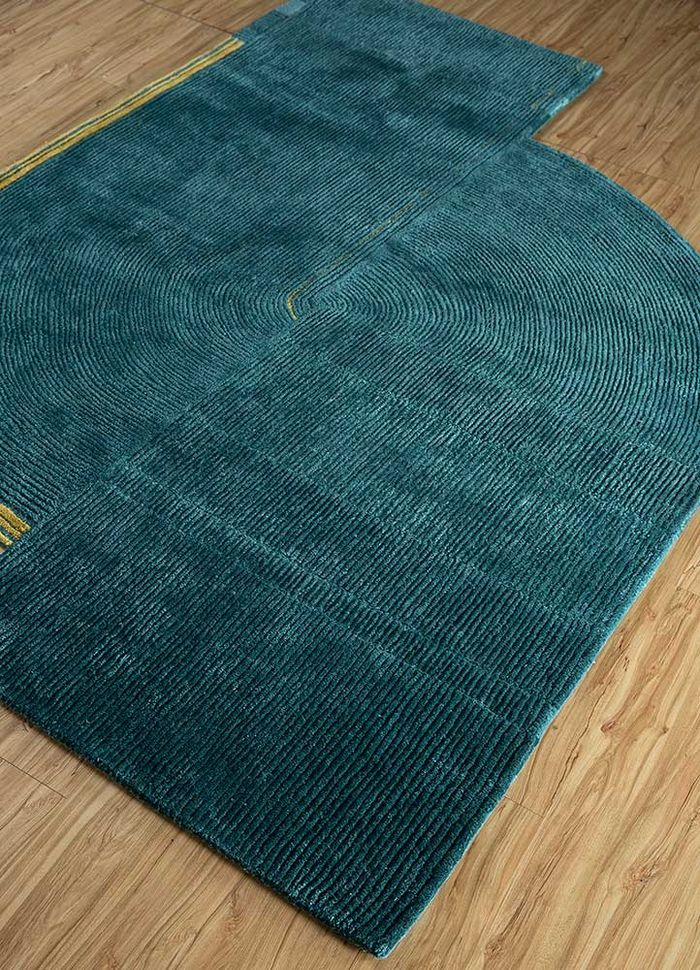 come around blue wool and viscose hand tufted Rug - FloorShot