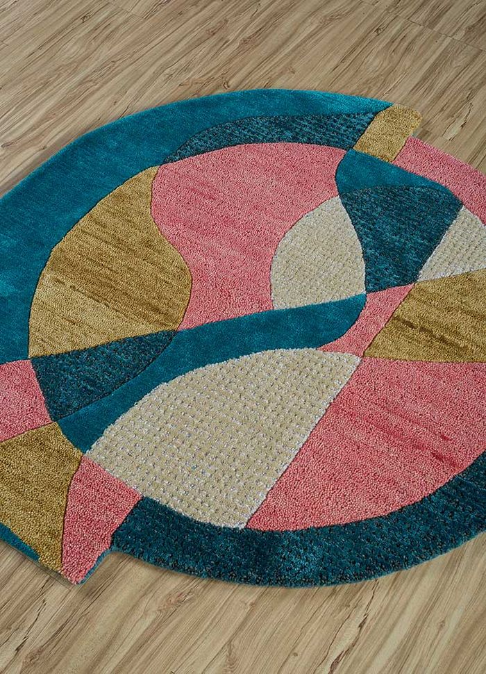 come around pink and purple wool and viscose hand tufted Rug - FloorShot
