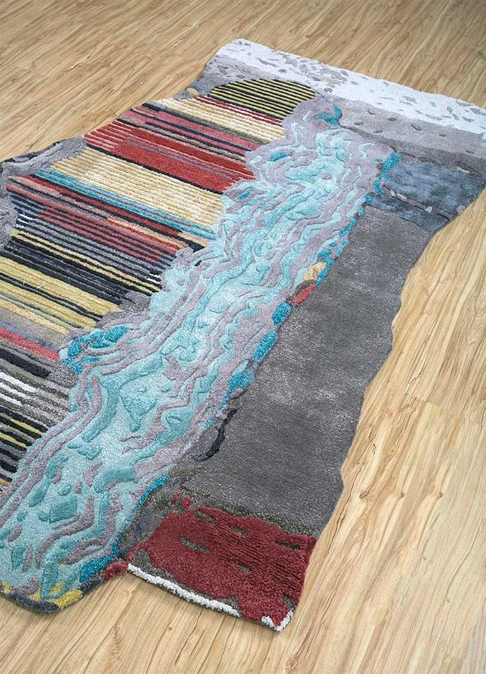 come around grey and black wool and viscose hand tufted Rug - FloorShot