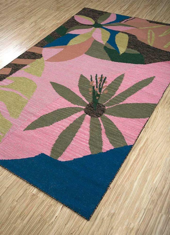 aprezo pink and purple wool flat weaves Rug - FloorShot