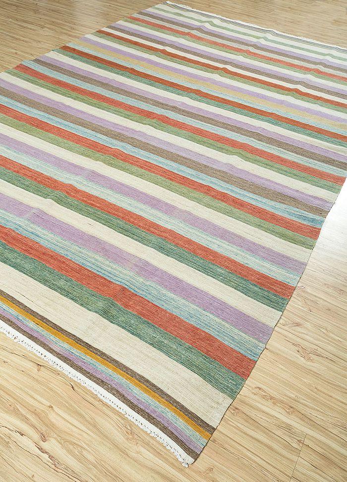 aqua ivory wool flat weaves Rug - FloorShot