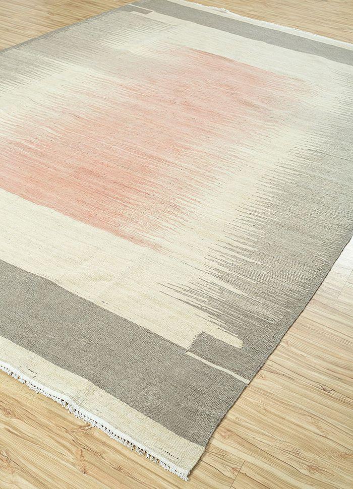 aqua red and orange wool flat weaves Rug - FloorShot