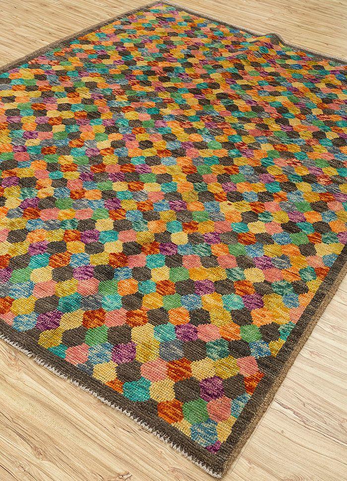afghan mori beige and brown wool hand knotted Rug - FloorShot