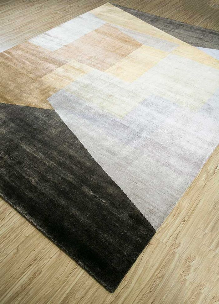geode ivory bamboo silk hand knotted Rug - FloorShot