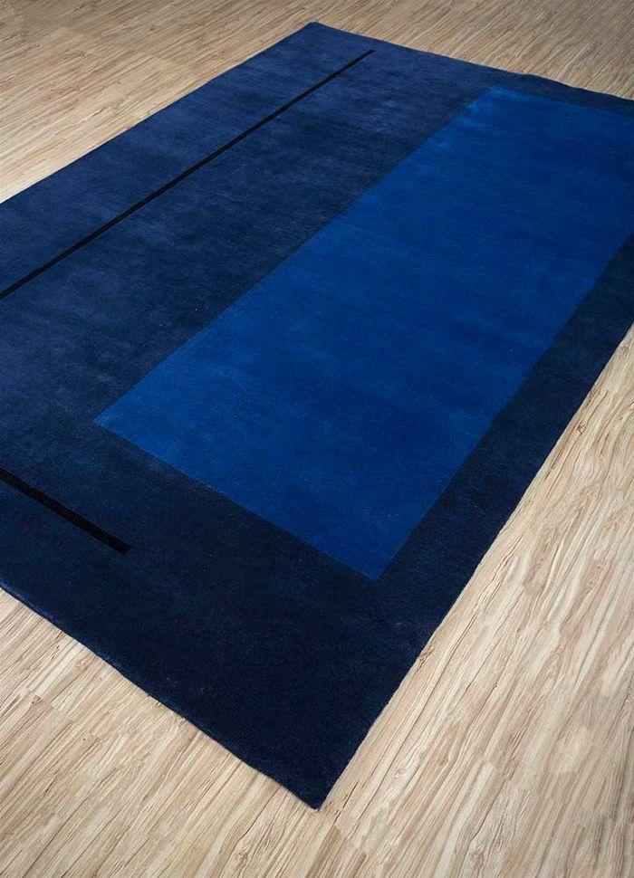 alfreda blue wool hand knotted Rug - FloorShot