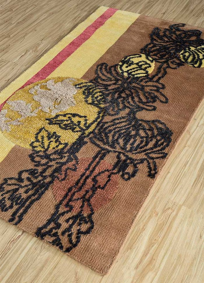 esme red and orange wool and bamboo silk hand knotted Rug - FloorShot