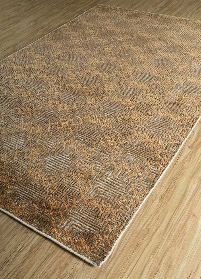 revolution ivory wool and bamboo silk hand knotted Rug - FloorShot