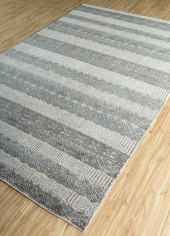 revolution grey and black wool and bamboo silk hand knotted Rug - FloorShot