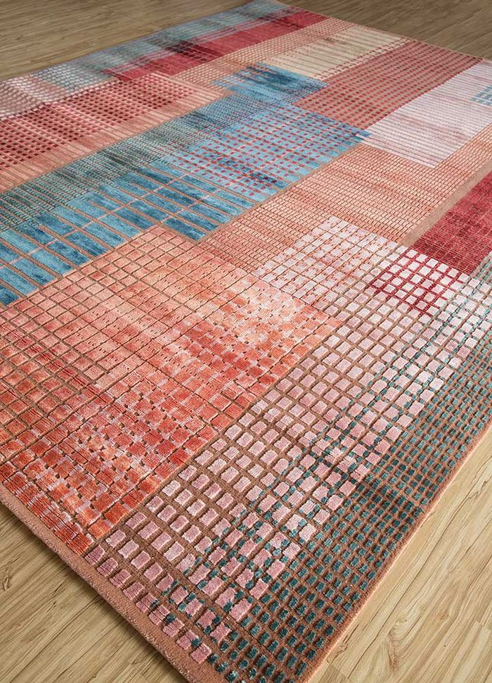 geode red and orange wool and bamboo silk hand knotted Rug - FloorShot