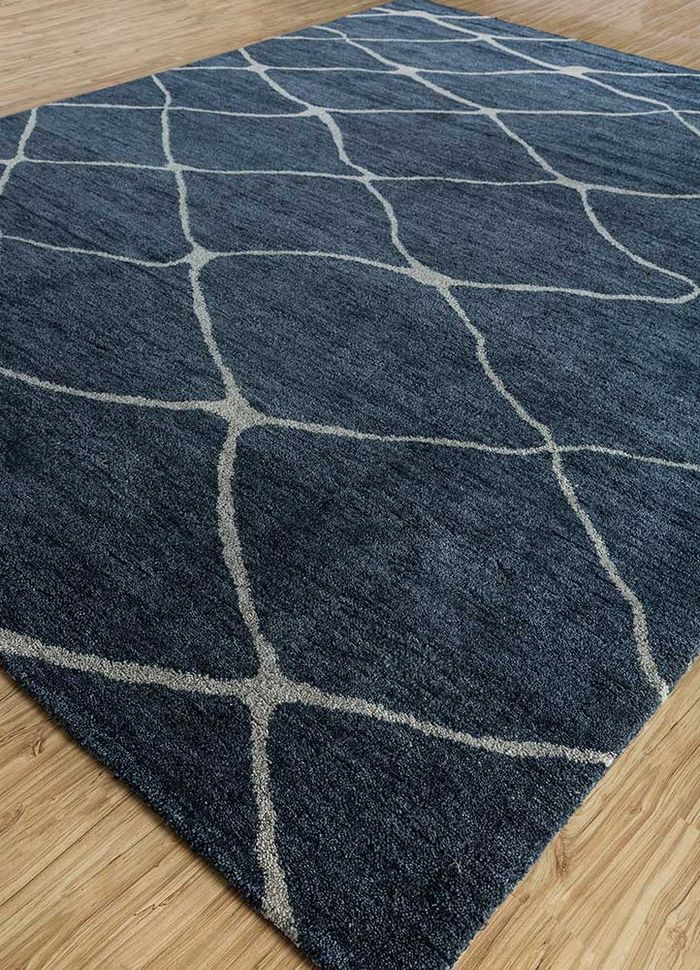 geode blue wool hand knotted Rug - FloorShot