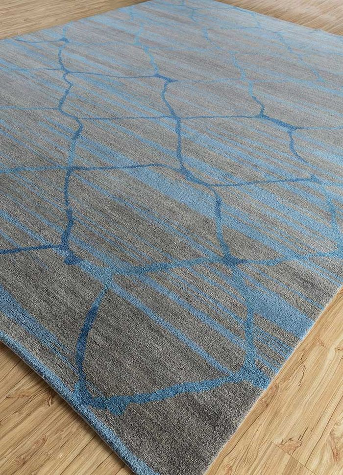 geode grey and black wool hand knotted Rug - FloorShot