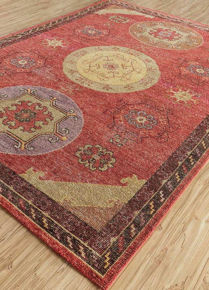 eden red and orange wool hand knotted Rug - FloorShot