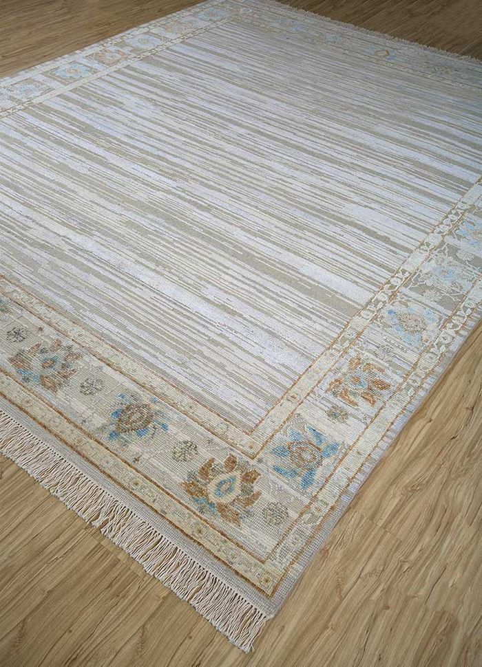 blithe ivory wool and silk hand knotted Rug - FloorShot