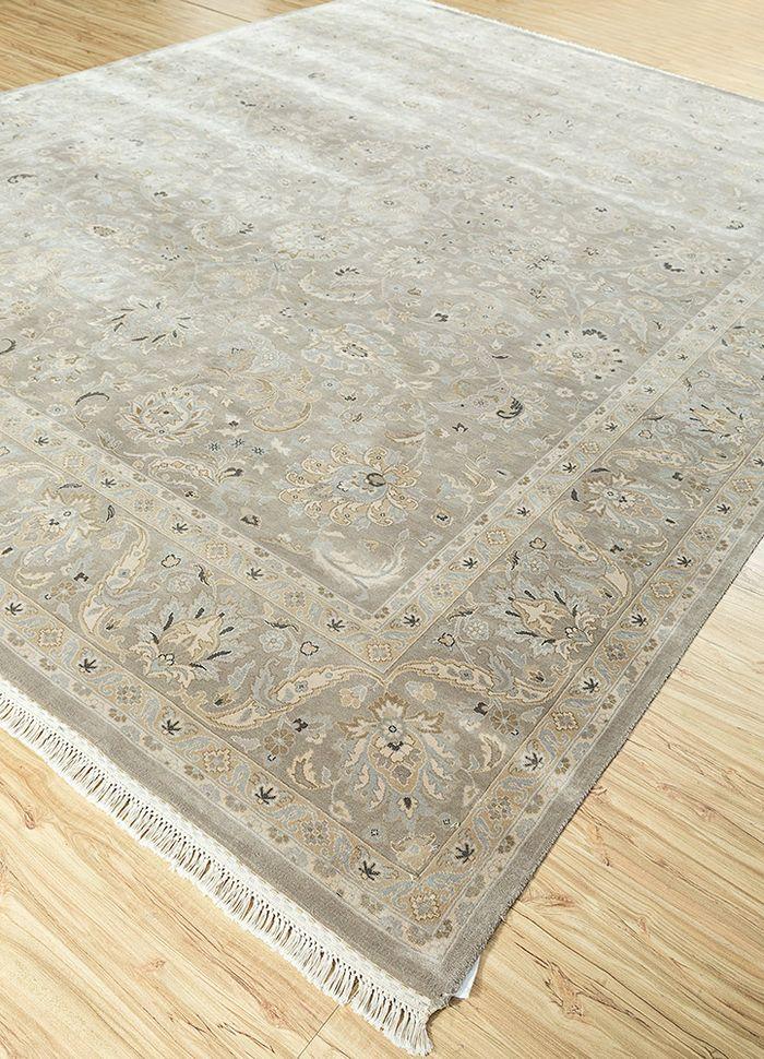 kashmir grey and black silk hand knotted Rug - FloorShot