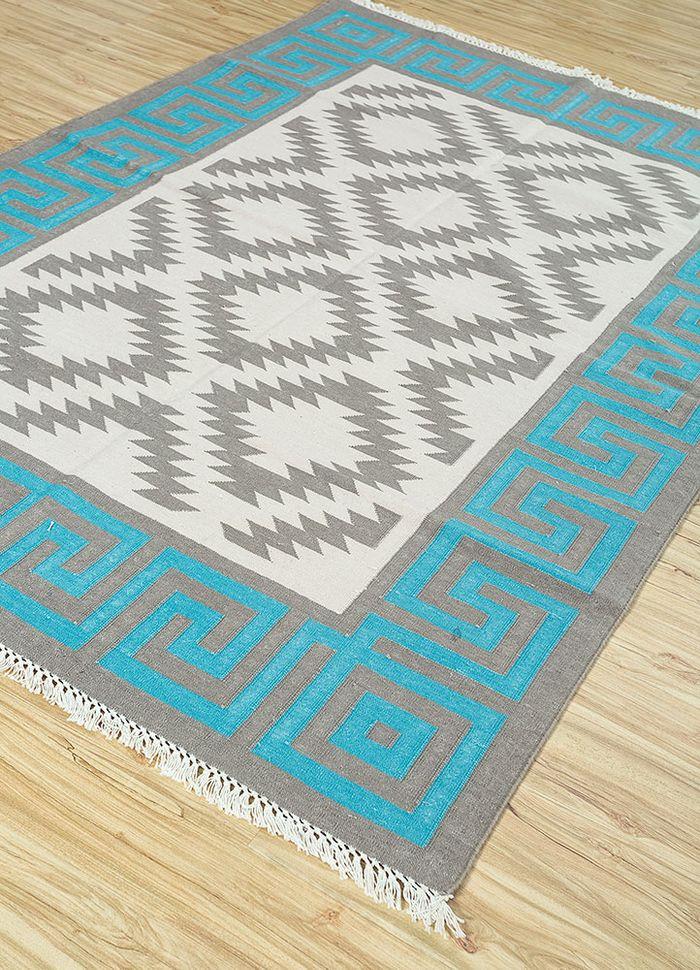 bedouin grey and black cotton flat weaves Rug - FloorShot
