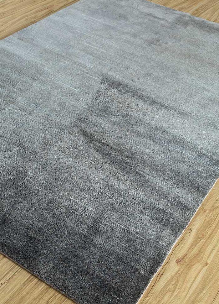 legion grey and black silk hand knotted Rug - FloorShot