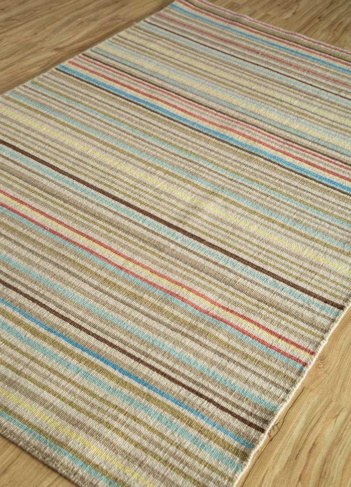 aqua blue wool flat weaves Rug - FloorShot