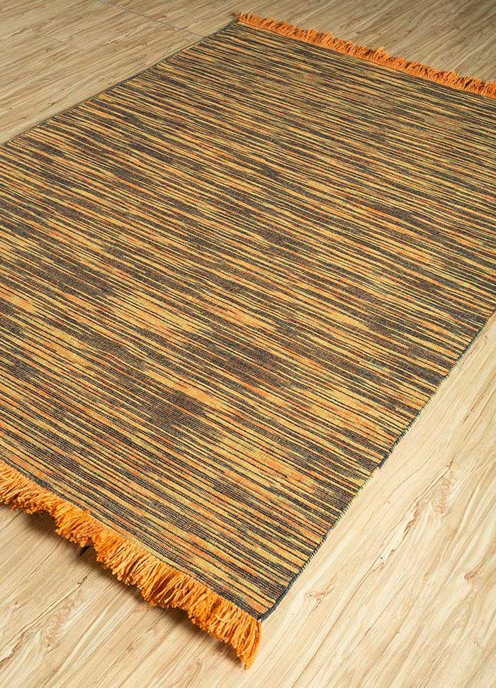abrash red and orange wool flat weaves Rug - FloorShot