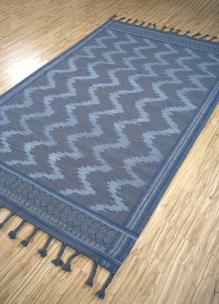 aprezo blue wool flat weaves Rug - FloorShot