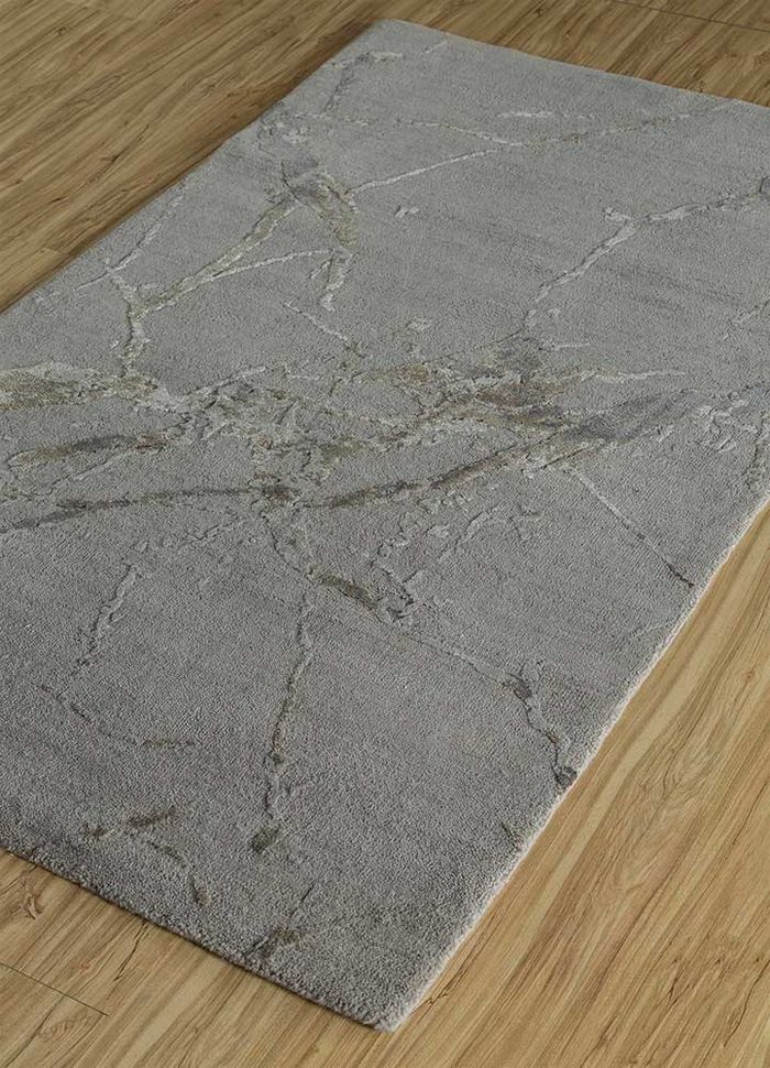 urban pause by kavi grey and black wool and silk hand knotted Rug - FloorShot