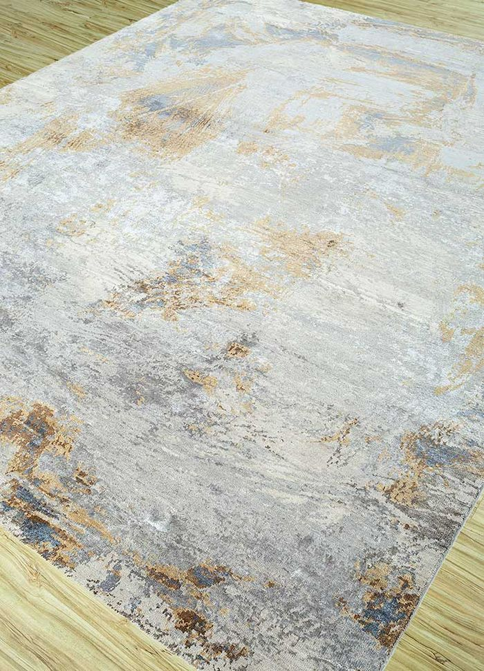 free verse by kavi ivory wool and silk hand knotted Rug - FloorShot