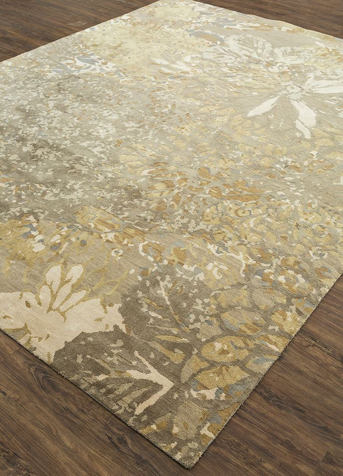 pansy grey and black wool and silk hand knotted Rug - FloorShot