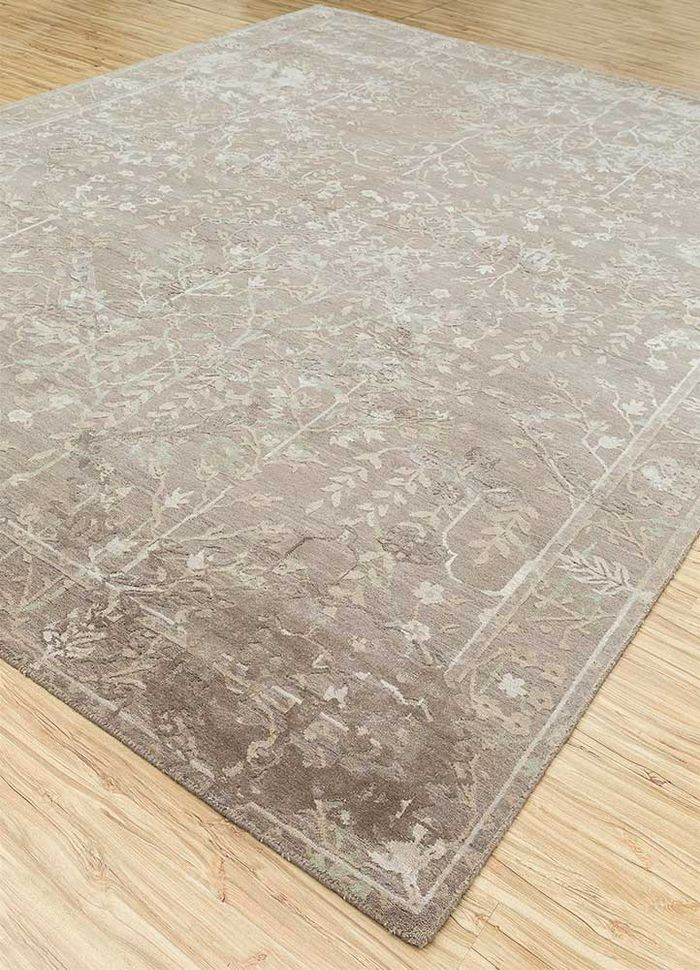 biscayne beige and brown wool and silk hand knotted Rug - FloorShot