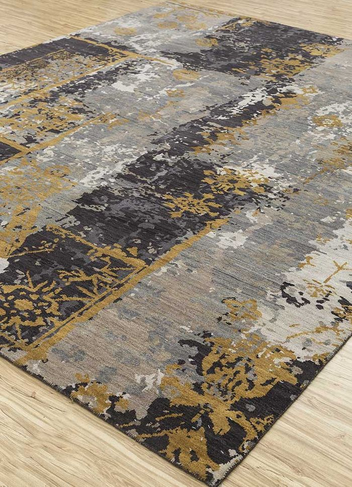 entropy grey and black wool hand knotted Rug - FloorShot